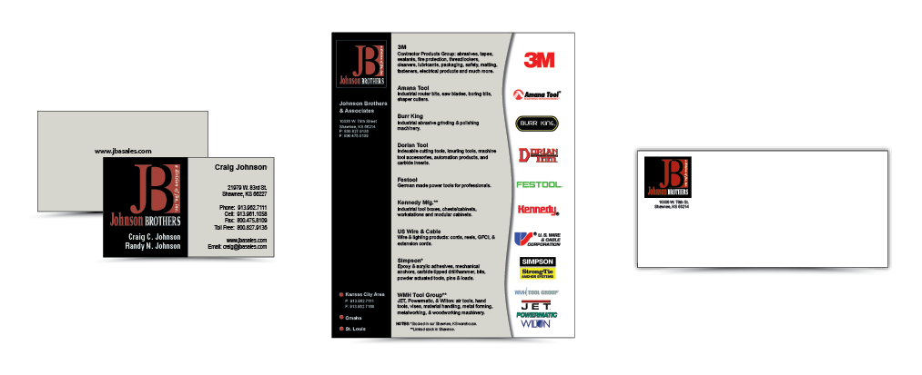 Point Graphics design business cards, logo, sell sheet, envelope for Johnson Brothers